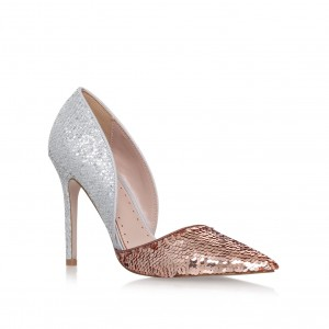 Champagne and Silver Sparkly Heels Pointy Toe Glitter Sequined Pumps