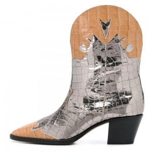 Silver and Tan Western Boots Block Heel Boots