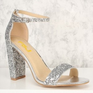 Women's Silver Glitter Wedding Shoes Open Toe Chunky Heels Sandals