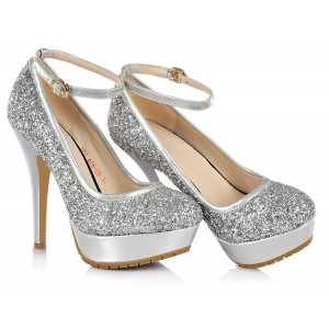 Silver Sparkly Heels Ankle Strap Glitter Shoes Platform Pumps