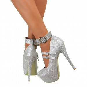 Silver Sparkly Heels Prom Shoes Ankle Strap Stiletto Heel Pumps