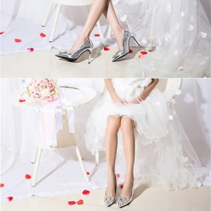 Women's Silver Bridal Shoes Mirror Leather Crystal Stiletto Heels