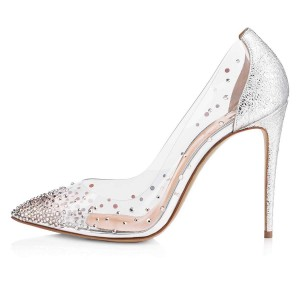 Silver Rhinestone Clear Pumps Stiletto Heels Wedding Shoes
