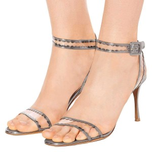 Silver Clear PVC Ankle Strap Heels Sandals