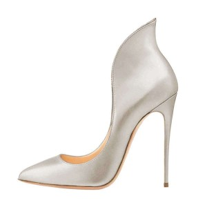 Silver Evening Shoes Stiletto Heels Collar Pumps Dress Shoes