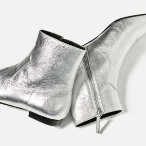 Silver Short Boots Fashion Pointy Toe Flat Ankle Boots US Size 3-15