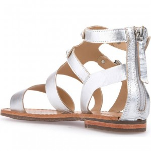 Silver Gladiator Sandals Open Toe Flats Vintage Sandals with Buckle