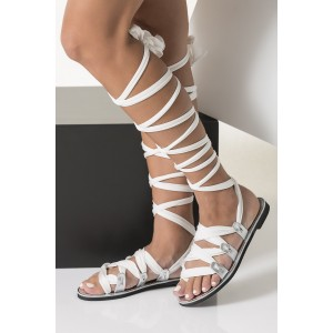 Silver Gladiator Sandals Open Toe White Scarves Strappy Summer Sandals