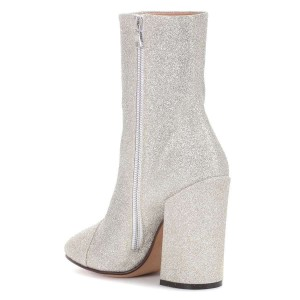 Silver Glitter Boots Round Toe Chunky Heel Ankle Boots