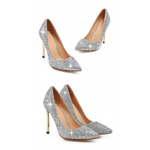 Silver Glitter Shoes Pointy Toe Blade Stiletto Heel Sparkly Pumps