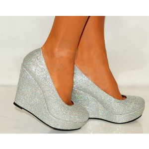 Silver Closed Toe Wedges Glitter Round Toe Platform Pumps