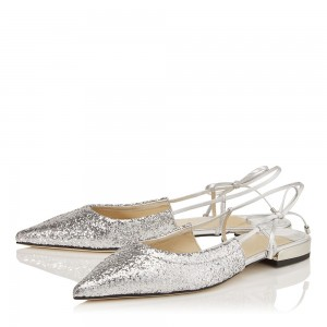 Silver Glitter Shoes Flat Pumps