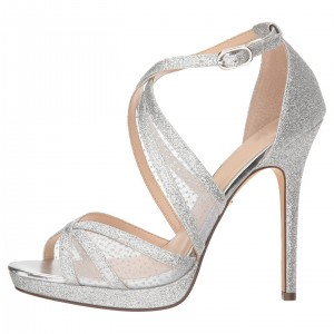 Silver Glitter Shoes Platform Cross Over Stiletto Heel Sandals