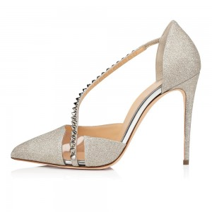Silver Glitter Shoes Rivets Cross Clear PVC Stiletto Heel Pumps