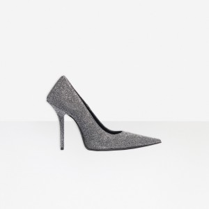 Silver Glitter Shoes Pointy Toe Stiletto Heel Pumps