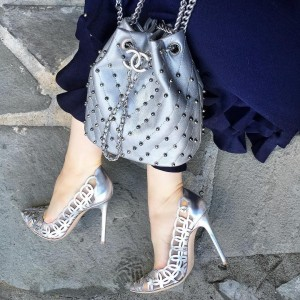 Silver Hollow Out Stiletto Heels Pumps