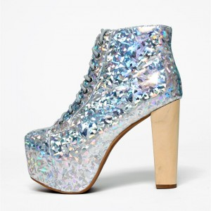 Silver Holographic Platform Chunky Heel lace Up Boots
