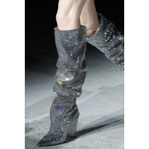 Silver Hotfix Slouch Boots Chunky Heel Knee High Boots