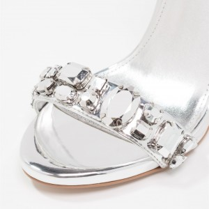 Silver Metallic Wedding Heels Open Toe Rhinestone High Heel Sandals