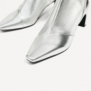 Silver Metallic Square Toe Boots Low Heel Fashion Short Ankle Boots