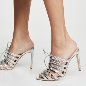 Silver Lace Up Stiletto Heel Mule Heels
