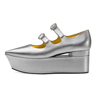 Silver Mary Jane Buckles Platform Heel Pumps
