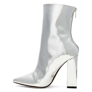 Silver Metallic Chunky Heel Boots Ankle Boots