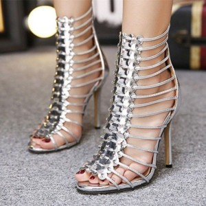 Silver Metallic Heels Open Toe Stiletto Heel Sexy Gladiator Sandals