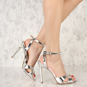Silver Metallic Heels Open Toe Stiletto Heel Slingback Sandals