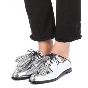 Silver Metallic Lace Up Tassel Women's Oxfords