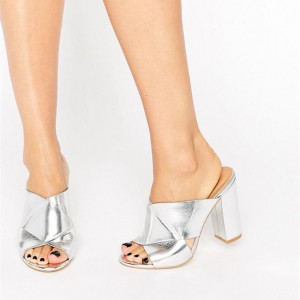 Silver Metallic Mule Heels Open Toe Chunky Heels for Office Lady