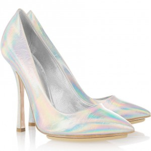Silver Stiletto Heels Pointy Toe Mirror Leather Pumps