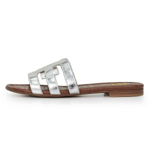 Silver Metallic Open Toe Flat Women's Slide Sandals