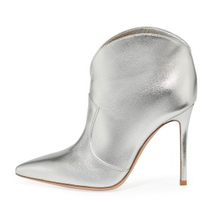 Silver Metallic Pointy Toe Stiletto Heel Ankle Booties