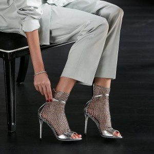 Silver Peep Toe Nets Summer Boots Stiletto Heels Rhinestone Sandals