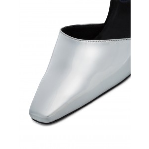 Silver Metallic Square Toe Cone Heel  Mules Office Pump