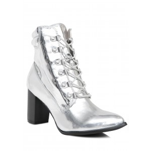 Silver Mirror Leather Round Toe Chunky Heel Boots Lace up Ankle Bootie