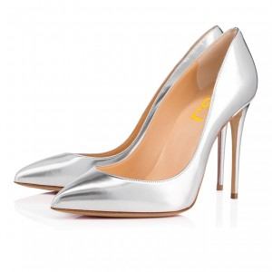 Silver Metallic Heels Pointy Toe Stiletto Heels Pumps for Office Lady
