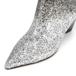 Silver Ombre Glitter and Black Mid Calf Fashion Boots