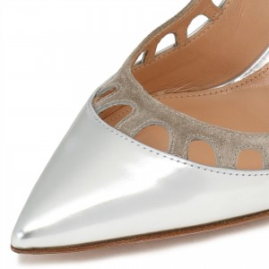 Silver Patent Leather and Suede Hollow Out Office Heels Pumps