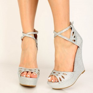 Silver Platform Wedge Sandals Hollow Out Sandals