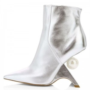 Silver Pointy Toe Fashion Boots Pearl Special Heel Ankle Boots
