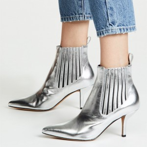 Silver Pointy Toe Kitten Heel Stripes Ankle Booties