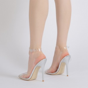 Clear Heels Ankle Strap PVC Closed Toe Sandals for Women