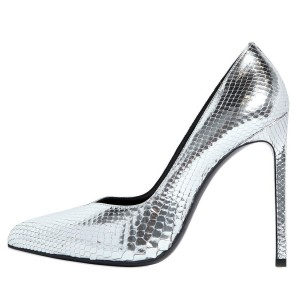 Silver Python Pointy Toe Office Heels Stiletto Heel Pumps