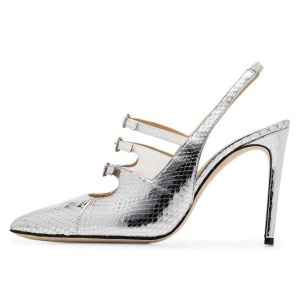 Silver Python Triple Buckles Stiletto Heel Slingback Pumps