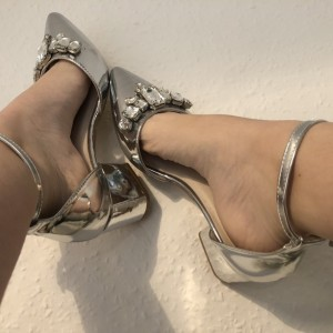 Silver Rhinestone Ankle Strap Heels Pointed Toe Block Heel Pumps
