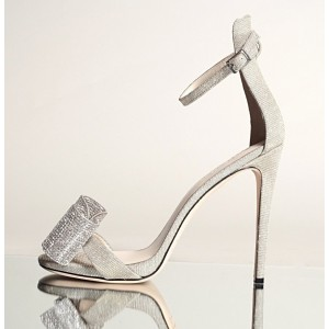 Silver Rhinestone Bow Heels Bridal Shoes Ankle Strap Sandals