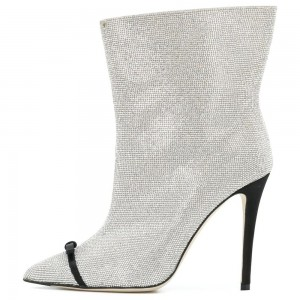Silver Rhinestone Fashion Boots Stiletto Heel Ankle Boots