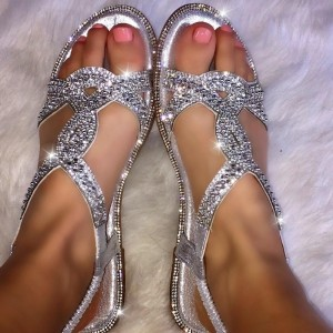Silver Rhinestone Flat Sandals Open Toe Comfortable Summer Flats